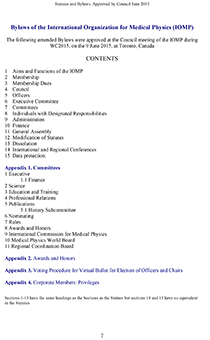 Bylaws of the International Organization for Medical Physics (IOMP)